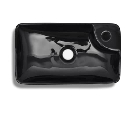 vidaXL Bathroom Sink Basin with Faucet Hole Ceramic Black[4/5]