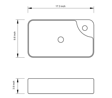 vidaXL Bathroom Sink Basin with Faucet Hole Ceramic Black[5/5]