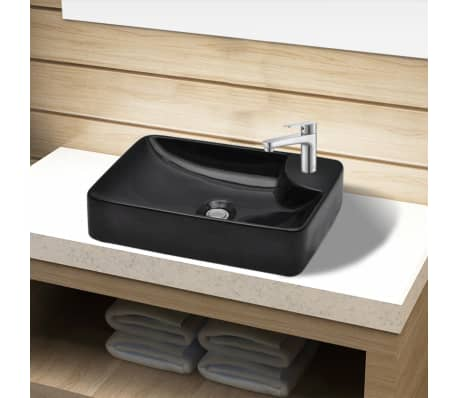 vidaXL Bathroom Sink Basin with Faucet Hole Ceramic Black[1/5]