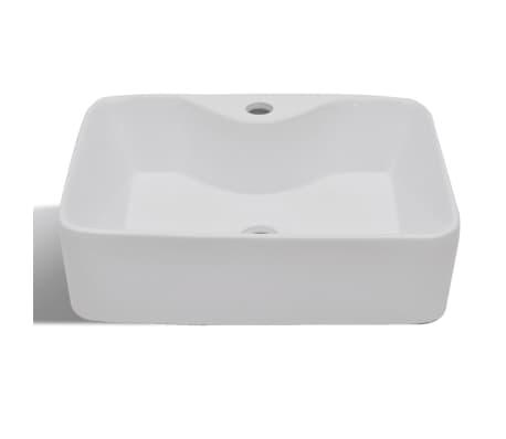 vidaXL Bathroom Sink Basin with Faucet Hole Ceramic White[3/6]