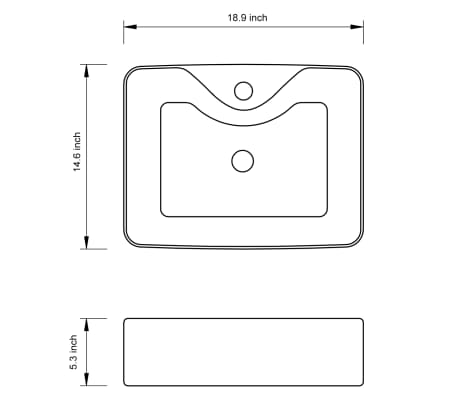 vidaXL Bathroom Sink Basin with Faucet Hole Ceramic White[6/6]