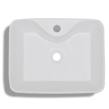 vidaXL Bathroom Sink Basin with Faucet Hole Ceramic White[5/6]