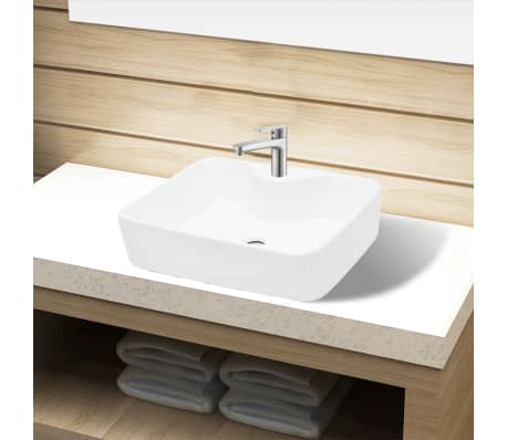 vidaXL Bathroom Sink Basin with Faucet Hole Ceramic White[1/6]
