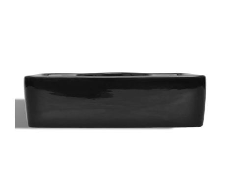 vidaXL Bathroom Sink Basin with Faucet Hole Ceramic Black[4/6]