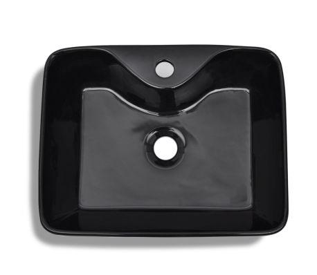 vidaXL Bathroom Sink Basin with Faucet Hole Ceramic Black[5/6]