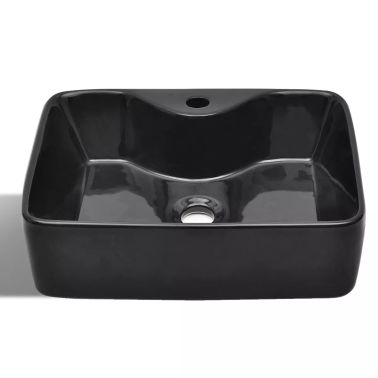 vidaXL Bathroom Sink Basin with Faucet Hole Ceramic Black[3/6]