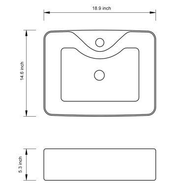 vidaXL Bathroom Sink Basin with Faucet Hole Ceramic Black[6/6]