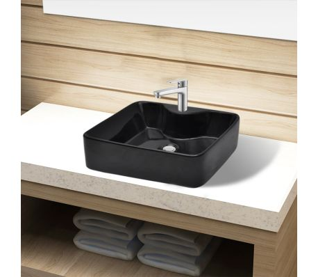 vidaXL Bathroom Sink Basin with Faucet Hole Ceramic Black[1/6]