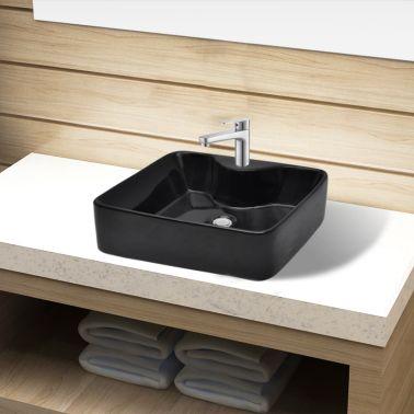 vidaXL Bathroom Sink Basin with Faucet Hole Ceramic Black[1/6]