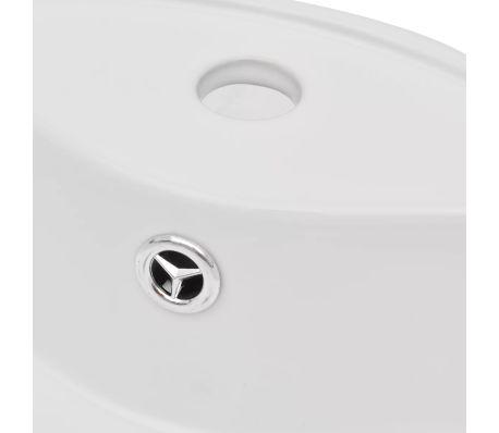 vidaXL Bathroom Sink Basin Faucet/Overflow Hole Ceramic White Round[5/7]