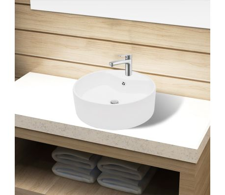 vidaXL Bathroom Sink Basin Faucet/Overflow Hole Ceramic White Round[1/7]
