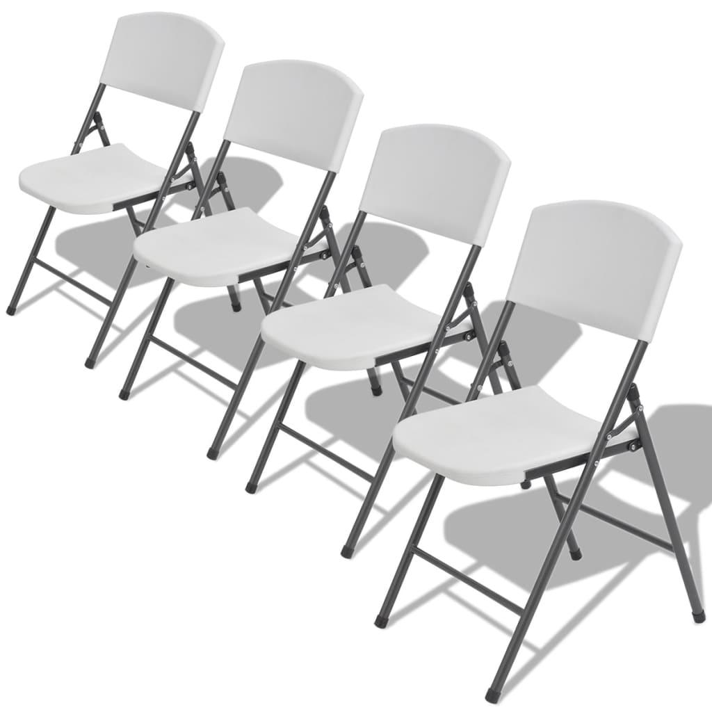 vidaXL Καρέκλες Κήπου Πτυσσόμενες 4 τεμ. Λευκές από Ατσάλι / HDPE