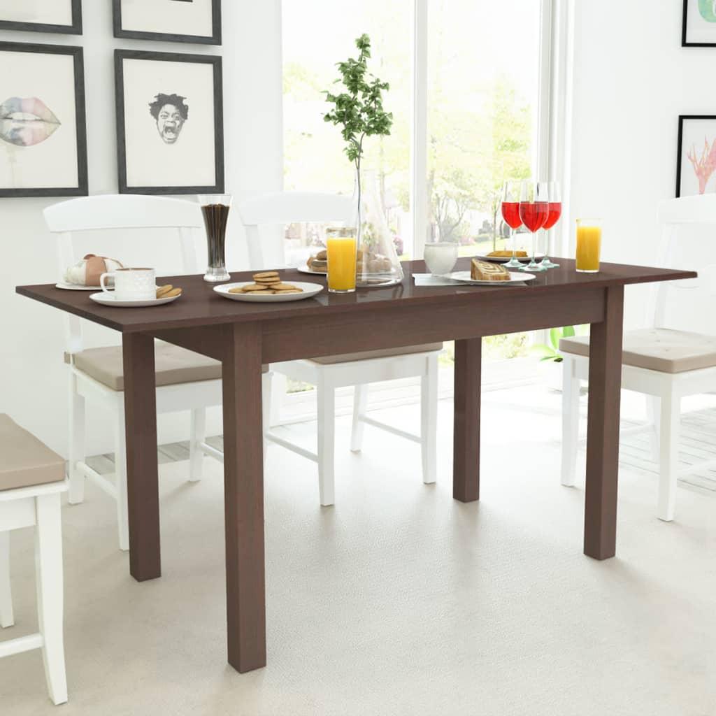 vidaXL Prodloužitelný jídelní stůl tmavě hnědý 120/160x70x76,5 cm