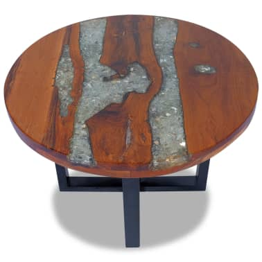 "vidaXL Coffee Table Teak Resin 23.6""[2/10]"