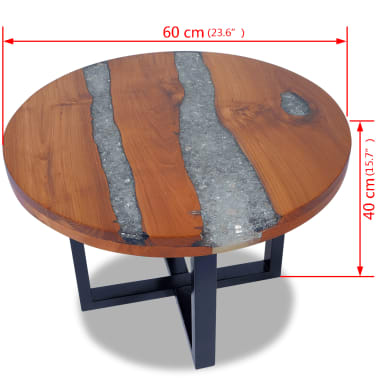 "vidaXL Coffee Table Teak Resin 23.6""[10/10]"