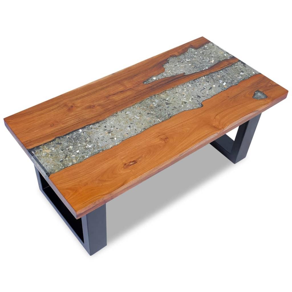 Teak Unique Coffee Table: Coffee Table Teak Resin 100x50 Cm
