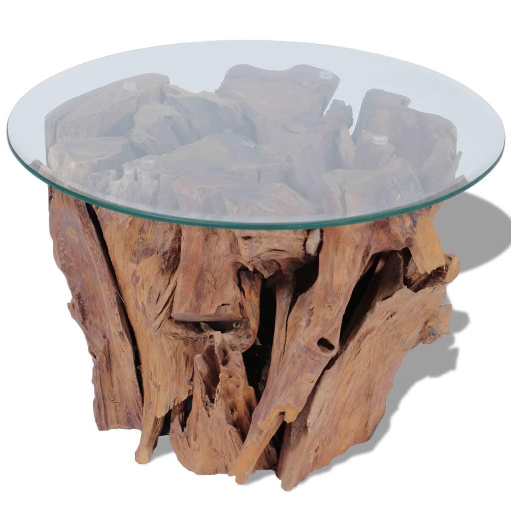 vidaXL Măsuță de cafea, 60 cm, lemn masiv de tec erodat poza 2021 vidaXL