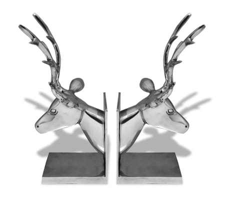 vidaXL Bookends Deer 2 pcs Aluminum Silver[2/5]