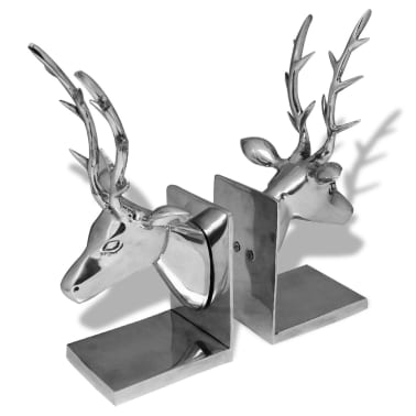 vidaXL Bookends Deer 2 pcs Aluminum Silver[3/5]