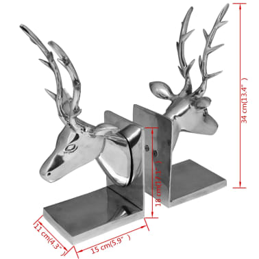 vidaXL Bookends Deer 2 pcs Aluminum Silver[5/5]