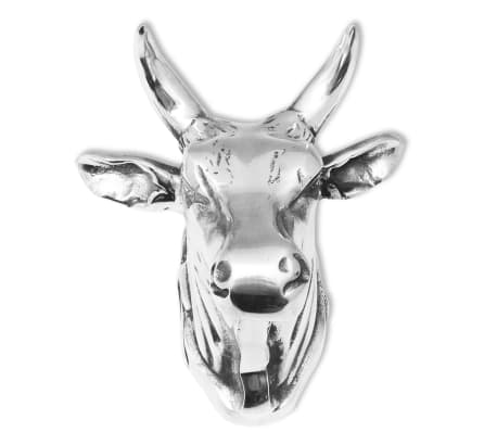 vidaXL Cow Head Decoration Wall-Mounted Aluminum Silver[2/4]
