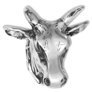 vidaXL Cow Head Decoration Wall-Mounted Aluminum Silver[3/4]