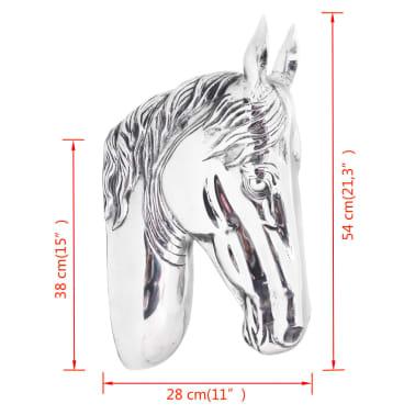 vidaXL Paardenhoofd muurdecoratie aluminium zilver[5/5]