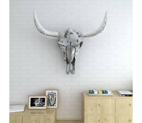vidaXL Skull Head Decoration Wall-Mounted Aluminum Silver[2/7]