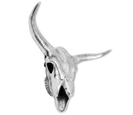 vidaXL Bull Skull Head Decoration Wall-Mounted Aluminum Silver[2/5]