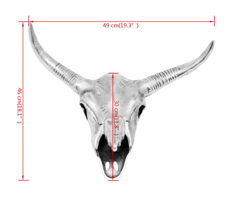 vidaXL Bull Skull Head Decoration Wall-Mounted Aluminum Silver[5/5]