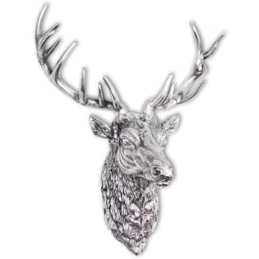 vidaXL Deer Head Decoration Wall-Mounted Aluminum Silver[1/8]