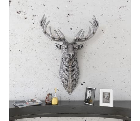 vidaXL Deer Head Decoration Wall-Mounted Aluminum Silver[2/8]