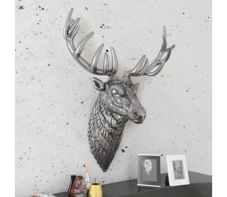 vidaXL Deer Head Decoration Wall-Mounted Aluminum Silver[3/8]
