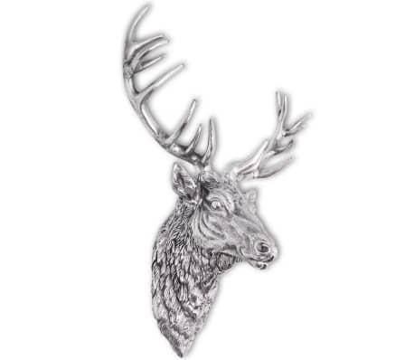 vidaXL Deer Head Decoration Wall-Mounted Aluminum Silver[4/8]