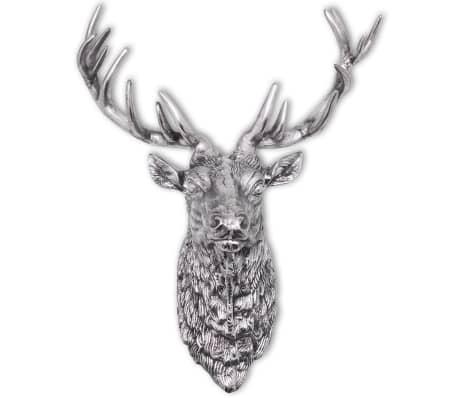 vidaXL Deer Head Decoration Wall-Mounted Aluminum Silver[5/8]