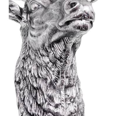 vidaXL Deer Head Decoration Wall-Mounted Aluminum Silver[7/8]