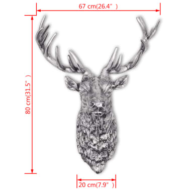 vidaXL Deer Head Decoration Wall-Mounted Aluminum Silver[8/8]
