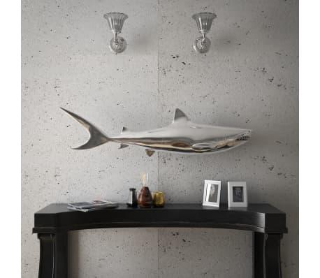 vidaXL Shark Decoration Wall-Mounted Aluminum Silver[3/7]