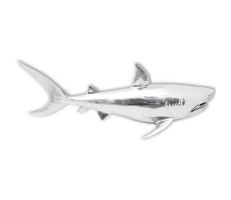 vidaXL Shark Decoration Wall-Mounted Aluminum Silver[4/7]