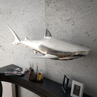 vidaXL Shark Decoration Wall-Mounted Aluminum Silver[2/7]