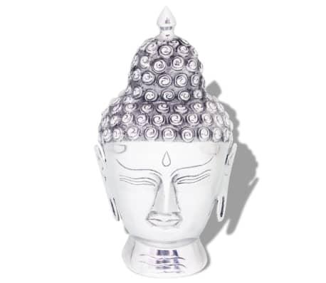 vidaXL Buddha hodedekorasjon aluminum sølv