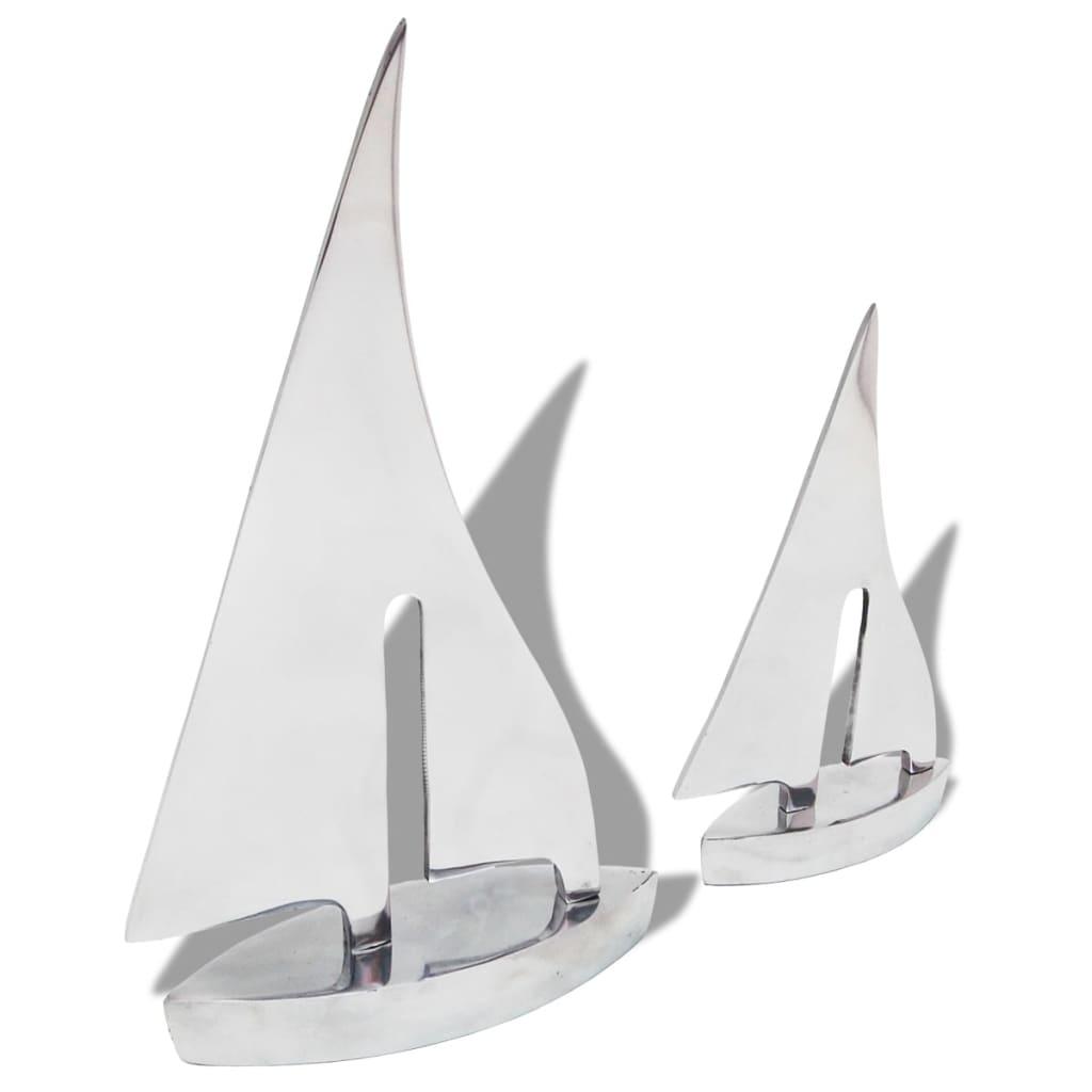 vidaXL Dvě plachetnice, dekorace hliníková stříbrná
