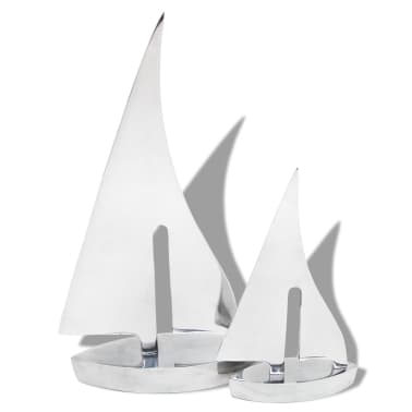 Vidaxl zeilboot decoratie 2 stuks zilver aluminium online for Decoratie zeilboot