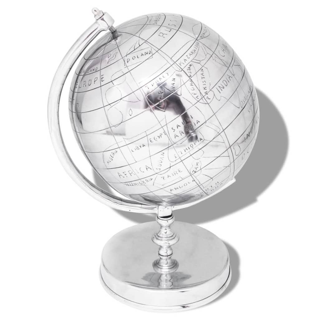 vidaXL Globus se stojánkem hliník stříbrný 42 cm