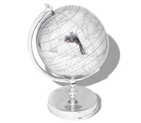 vidaXL Wereldbol met voet aluminium zilverkleurig 42 cm