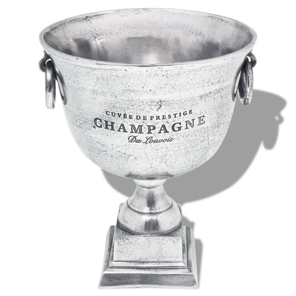 vidaXL Frapieră șampanie, formă cupă trofeu, aluminiu, argintiu vidaxl.ro