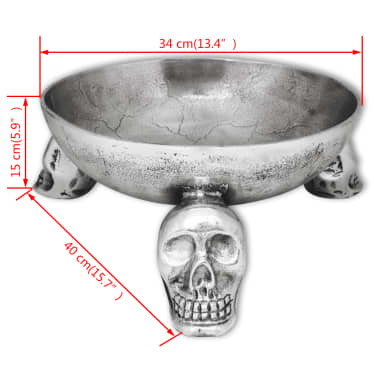 vidaXL Fruit Basket with Skull Feet Aluminum Silver[5/5]