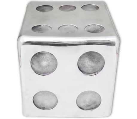 vidaXL Taburetė/staliukas, kauliuko formos, aliuminis, sidabro spalvos[3/6]