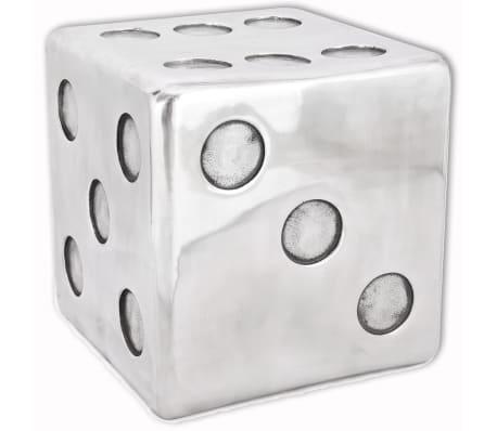 vidaXL Taburetė/staliukas, kauliuko formos, aliuminis, sidabro spalvos[4/6]