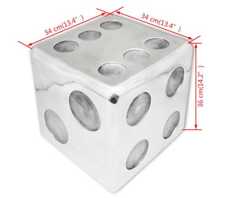vidaXL Taburetė/staliukas, kauliuko formos, aliuminis, sidabro spalvos[6/6]